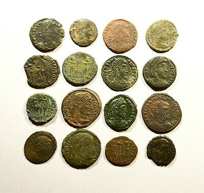 Lot Of 16 Imperial Roman Bronze Coins For Identifying - 18