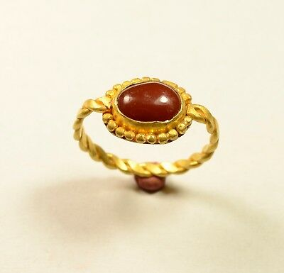 Stunning (Post) Medieval Gold Ring With Red Stone On Bezel - Wearable Artifact
