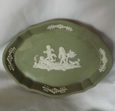 Vintage Sage Green Wedgwood Jasperware Cherubs Scalloped Oval Pin Trinket Dish