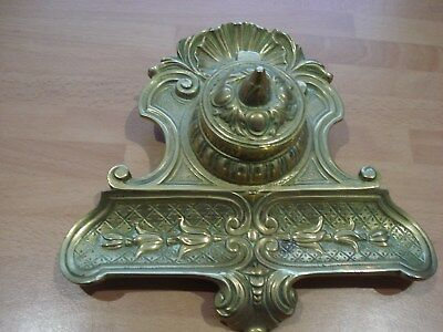 Antique Solid Brass Inkwell D.L Depose French No11 Art Nouveau Ornate Desk.