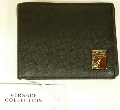 f28787d94c NEW Versace Collection Men's Logo Plaque Saffiano Black Leather Wallet  C93127S