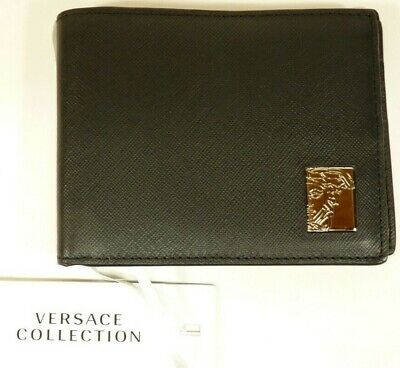 6e54451ca329 NEW Versace Collection Men s Logo Plaque Saffiano Black Leather Wallet  C93127S