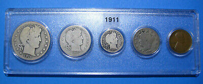 1911 US Coin Year Set 5 Coins 90% Silver