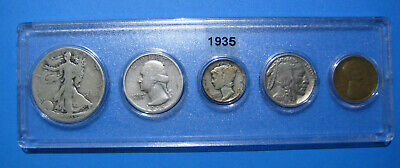 1935 US Coin Year Set 5 Coins 90% Silver