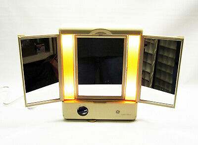 Vintage Ge Tri-Fold Magnifying Lighted Make-Up Mirror 3 Light Settings 106658
