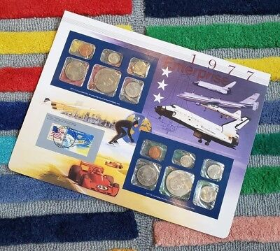 Postal Commemorative Society 1977 Us Uncirculated Mint Set Coins Coin Stamps