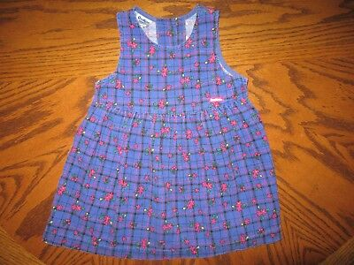 VTG OshKosh Plaid & Floral Corduroy Jumper Dress Size 4T USA MADE