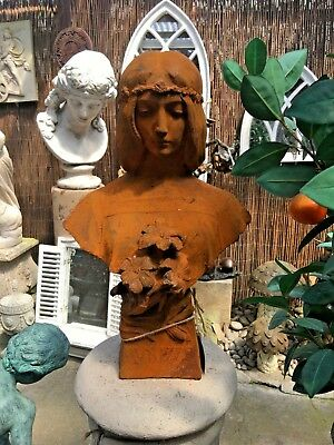 French Cast Iron Bust of a Nouveau Lady