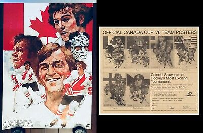 1976 Official Canada Cup Hockey Poster Full Set x6 + Ad Advertisement Vintage