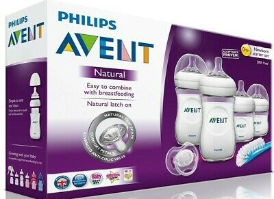 Philips Avent Natural Newborn Starter Set 4 Bottles 1 Nipple Brush 1 Pacifier