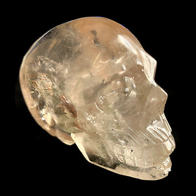 202g Natural Hand-Carved Clear Ghost Smoky Quartz Crystals Skull Healing XE481