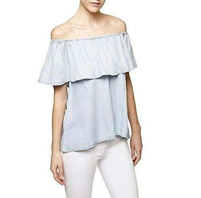 7b0d8753113f3d SANCTUARY WOMENS MISHA Blue Ruffle Butterfly Sleeves Blouse Top M ...