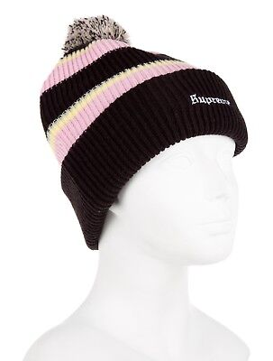 NWOT Supreme Big Stripe Knit Beanie Color  Black Pink Peach Yellow FW 9be83c51cc05