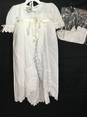 Vintage Thea Lace Embroidered Christening Gown w/ Bonnet Slip & Booties Sz 9 MOS