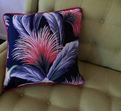 """Tropical Barkcloth Pillow Cover South Beach """"Coral Papyrus"""" Authentic 1940's Zip"""