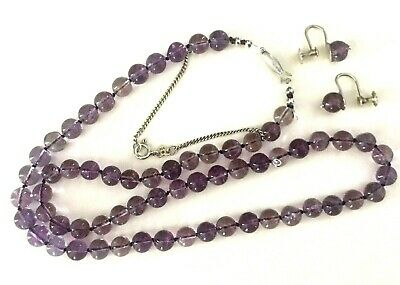 c1950s Antique EUROPEAN Silver REAL NATURAL160ct AMETHYST Necklace & Earring Set