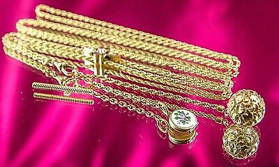 1900s Antique Victorian Slide Muff & Watch Chains 10k SOLID Gold w/ REAL Diamond
