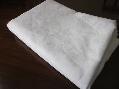 """Huge Irish Linen Damask Banquet Tablecloth 310 Cms By 230 Cms 122"""" By 90"""""""