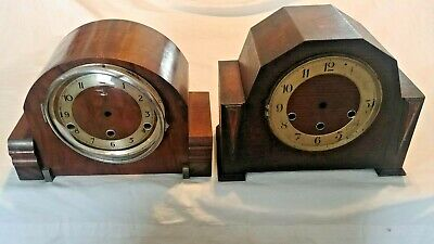 Antique Mantle Clock Case Empty Pair Of (2) Two Clockmaker Parts 4 Repair Lot