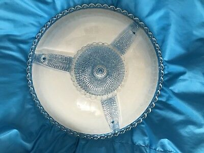 Antique Vintage ART DECO 30s Ceiling Light Shade Fixture Cover Glass Three Holes