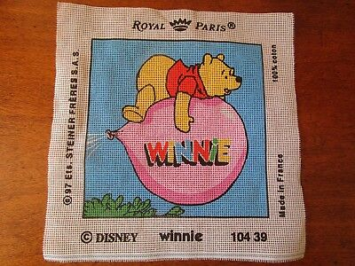 Royal Paris Tapestry Of Winnie The Pooh & Balloon. 21 X 21Cms.no Wool Or Needle.