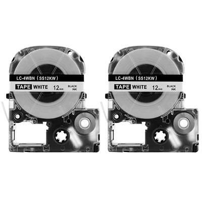 2 Pack LC-4WBN, LK-4WBN Label Tape Compatible Epson LabelWorks Black on White