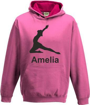 Boys Girls Kids Childs Personalised Custom Gymnastics Contrast Hoody Hoodie s2