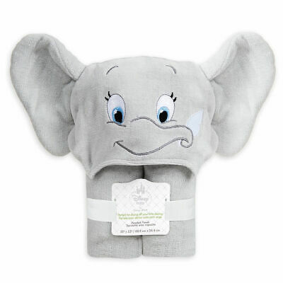 Disney Store Dumbo Hooded Baby Cotton Towel 35'' x 23'' with Mitten Corners NWT