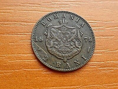 Romania 2 Bani 1879 B Carol I 1881-1914 AD Very Rare Copper Coin