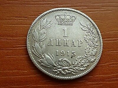 << TOP >> Serbia Silver 1 Dinar 1915 Peter I 1903-1918 AD Serbian Silver Coin