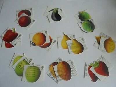 20 x Assorted  GB Stamps Fruit  & Veg  Design - Used