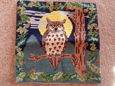 Completed Tapestry needlepoint cushioncover, owl & moon , new FREEPOST