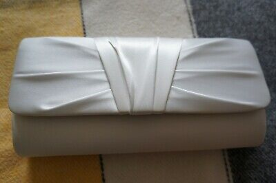 Debut Ivory Satin Pleated Front Clutch Bag With Chain BNWT