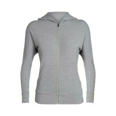 09ba20ae3ad Icebreaker Women s Momentum Long Sleeve Zip Hoodie Fossil Snow Heather Size  L