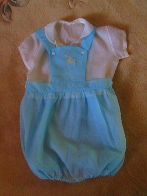 Original Vintage 50's 60's Baby boys Romper combination shirt & bib & brace