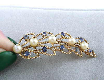 """Vintage 14K Solid Gold Sapphire & Pearl 2"""" Pin  6.5 Grams"""