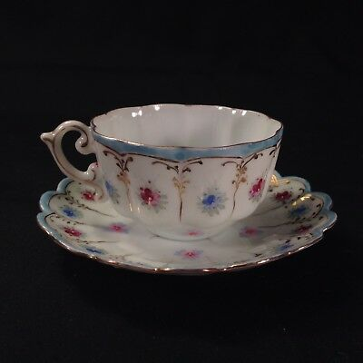 Vintage Hand Painted Enameled Tea Cup And Saucer Floral Gold Accents