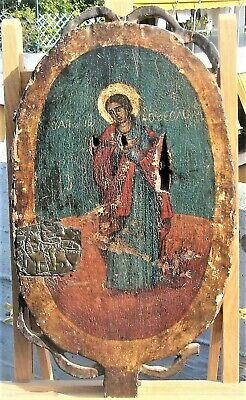 RARE ANTIQUE GREEK ORTHODOX ICON HAND PAINTED ST. JOHN THE THEOLOGIAN 18th CENT.