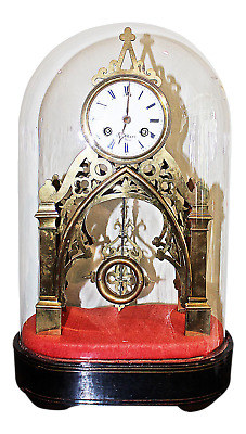 Antique French Gothic Skeleton Mantle Clock, Glass Dome