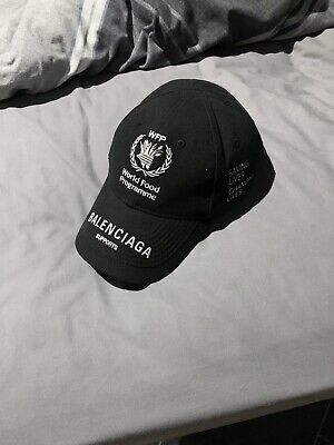 73b4b0b4 BALENCIAGA WORLD FOOD Programme Logo Print Cap - Black - £200.00 ...