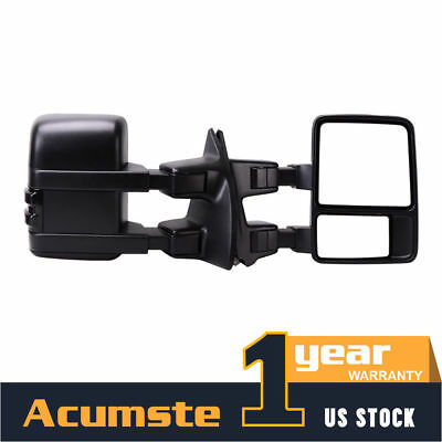 Pair Extand Tow Manual Mirrors Smoke Lense Signal For 08-16 Ford F250 Super Duty