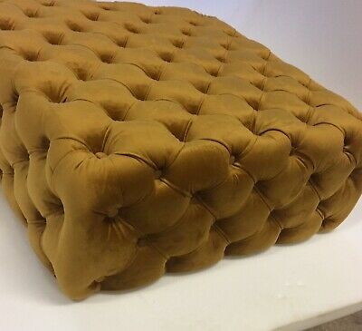 Plush Mustard Chesterfield Style deep Buttoned Mustard Coffee Table !!!