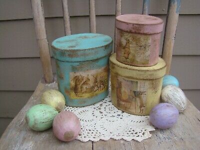 Primitive Easter Bunny Rabbit Pantry Paper Mache Boxes, spring pink blue yellow