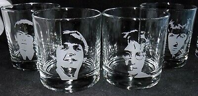 """New """"THE BEATLES"""" Etched Whiskey Glass(es) / Tumbler(s)-  Free Gift Box"""