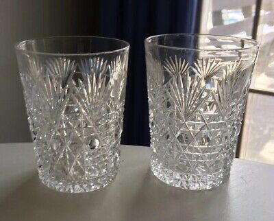 2 Beautiful Sparkling Cut Lead Crystal Drinking Glasses Tumblers Fans & Canes