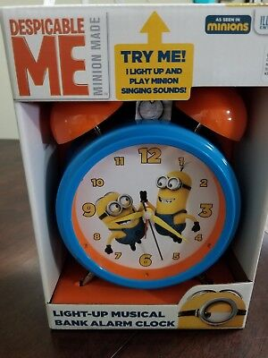 Fun Despicable Me Minion Musical Alarm Clock Money Bank Works! Lights up Talks!