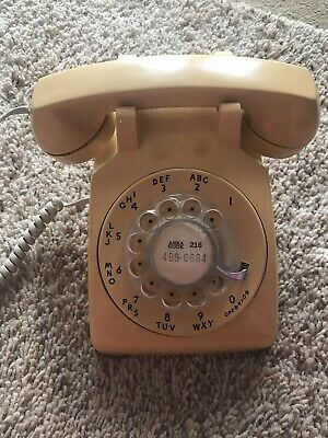 Vintage Rotary Dial Desk Phone BELL SYSTEM Western Electric 500 Yellow Gold