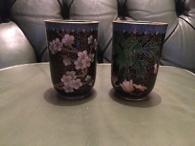2 Antique Chinese Cloisonne Small Vases