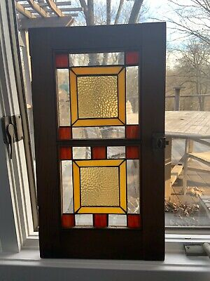 Frank Lloyd Wright Style Stained Glass Window Framed