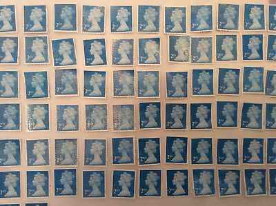 GB - 12 x 2nd Class stamps Unfranked Off Paper Partial gum